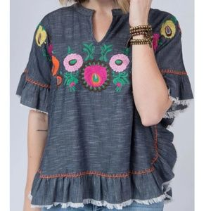 Ivy Jane embroidered denim chambray poncho top